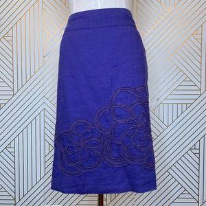 Boden Purple Linen Pencil Skirt Flower Embroidery